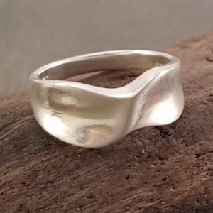 Contemporary Twist Sterling Silver Band Ring